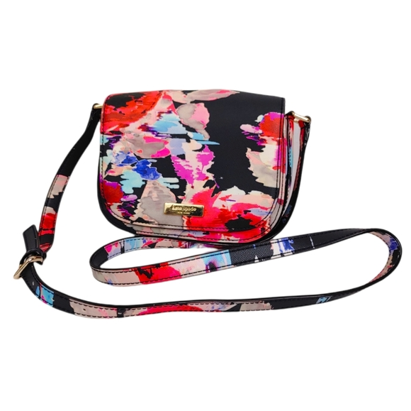 Kate Spade Colorful Abstract Floral Small Leather Crossbody Bag